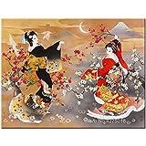 yaoxingfu Puzzle 1000 Piezas Sakura Japonesa Geisha Bailando Puzzle 1000 Piezas Gran Ocio vacacional, Juegos interactivos familiares50x75cm(20x30inch)