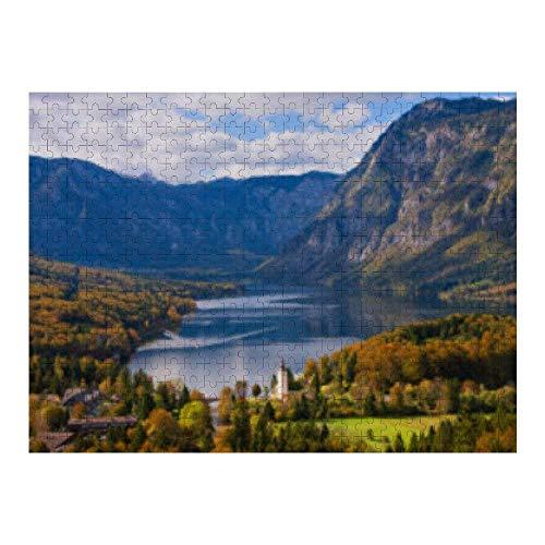 RABEAN Lago Bohinj en Eslovenia en otoño 1000 piezas de rompecabezas de madera de montaje de imagen de descompresión rompecabezas para adultos y niños juegos educativos juguetes