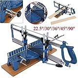 Scie à onglet manuelle professionnelle pour coupes obliques, angle de coupe réglable 22,5 °/30 °/36 °/45 °/90 °, en fer