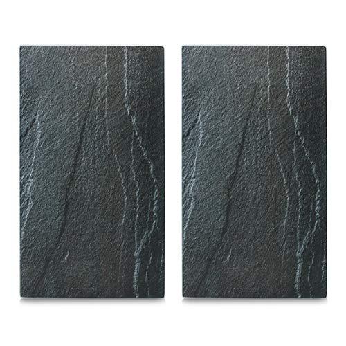 Zeller 26258 Herdabdeck-/Schneideplatten Schiefer, 2-er Set Glas, anthrazit, 52 x 30 x 0.8 cm, 2 Einheiten