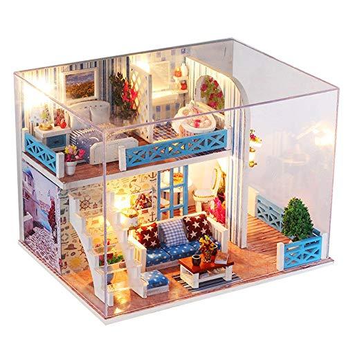 Prosperveil DIY Dollhouse Miniature Kit 3D Wooden Nautical Mansion House Model with LED Light Dust Cover Handmade Doll House Craft Toy Kids Birthday Gift