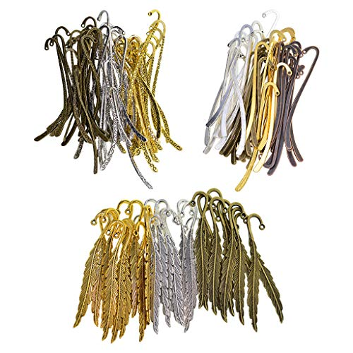 dailymall Vintage Metal Feather Bookmarks Book Mark with Hook Beading Jewelry Findings DIY Crafts 81mm 87mm Antique Silver Bronze/Gold Colors