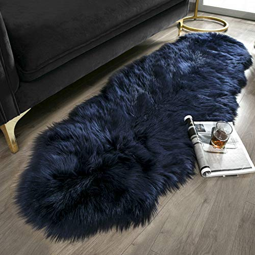 Ashler Soft Faux Sheepskin Fur Chair Couch Cover Navy Blue Area Rug for Bedroom Floor Sofa Living Room 2 x 6 Feet