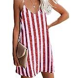La camiseta del verano de las mujeres viste la correa de espagueti Vestido sin mangas a rayas sexy casual sin mangas con cuello en V de playa,Rojo,L
