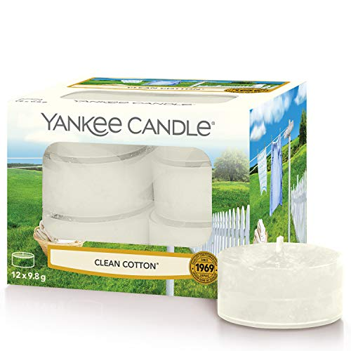 Yankee Candle candeline profumate tea light | Clean Cotton | 12 pezzi