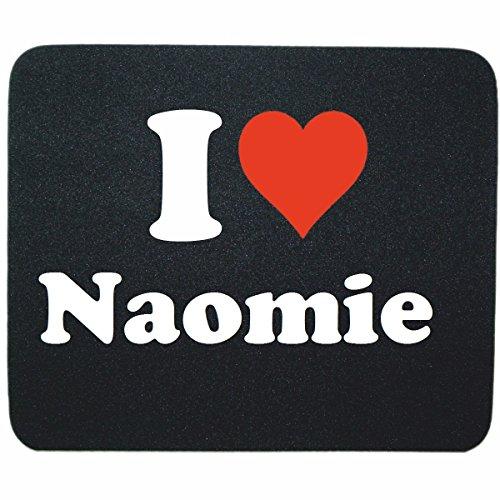 """EXCLUSIVO: Tapete de ratón """"I Love Naomie"""" en Negro, una gran idea para un regalo para sus socios, colegas y muchos más!- regalo de Pascua, Pascua, ratón, Palmrest, antideslizante, juegos de jugador, cojín, Windows, Mac OS, Linux, ordenador, portátil, PC, oficina, tableta, Amo Made in GERMANY."""