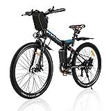 Vivi Ebike Mountainbike 26 Zoll Elektrofahrrad Klappbar Für Herren und Damen,350W E Bike Shimano 21-Gang Elektrisches Fahrrad mit Abnehmbare 8 Ah 36V Lithium-Ionen Batterie (Blau Schwarz)
