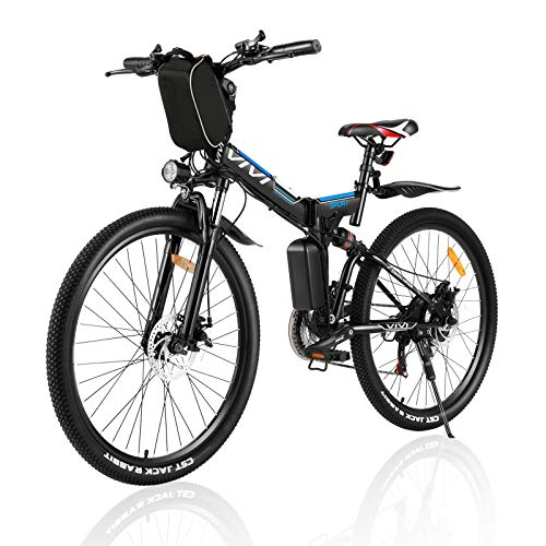 Vivi Electric Bike Folding Electric Mountain Bike for Adults 26'' E-Bike 350W Motor Electric Bicycle 21 Speed Gears Double Shock Absorption with Removable36V 8Ah Battery (Black)