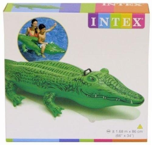 by pricep Intex Gator Large Inflatable Crocodile Swimming Pool Ride-On Raft Beach Summer N