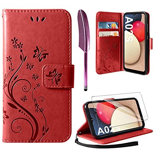 AROYI Cover Compatibile con Samsung Galaxy A02s, Retro Design Flip Caso in PU Pelle Premium Portafoglio Slot per Schede Chiusura Magnetica Custodia Compatibile con Samsung Galaxy A02s Red