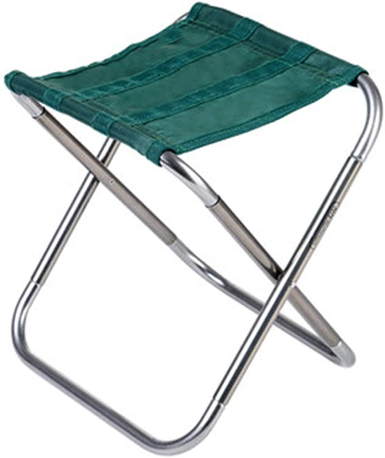 LSXIAO Portable Folding Stool Pouffes and Footstools Lightweight Outdoors Aluminum Alloy Camping Travel Adult Small Bench, 2 colors (color   Green, Size   25x22.4x26cm)