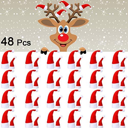 Boao 48 Stücke Mini Weihnachtsmützen, Mini Weihnachtsmützen, Mini DIY Weihnachtsmütze für Puppen Basteln Dekoration, Lutscher Candy Abdeckung, Tasse Flasche Abdeckung Geschenk, zu Hause Dekoration