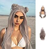 Grey Wig Light Silver Gray Platinum Blonde Lace Front Wig Natural Straight Fashion Side Part Synthetic Heat Resistant Hair Wigs for Women Half Hand Tied( Cosplay)