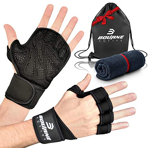 Ventilated Weight Lifting Gloves for Gym Workout PLUS Bonus Gym Towel & Bag Kit. Wrist Wrap Support for Weightlifting & Cross Training Fitness. Full Palm Protection Gym Gloves for Men & Women - Medium
