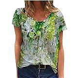 Damen Oberteile Vintage Mode Sommer Kurzarm Blusen T-Shirt V-Ausschnitte verliert Oversize Blume Drucken Frauen Bluse Tops Lässig Bedruckt Asymmetrisch Oberteile Top (Weiß, XXXL)