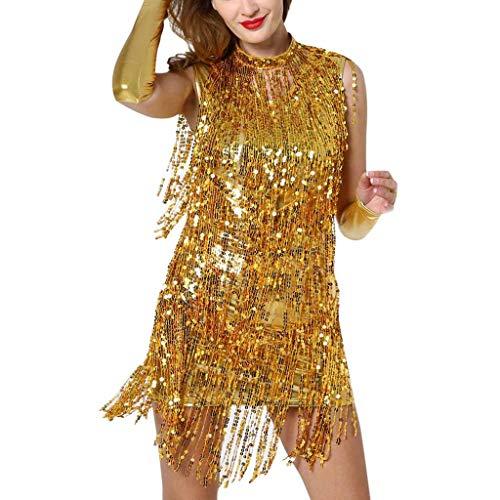 Deloito Damen Sexy Tanzkleidung Neckholder Minikleid Pailletten Quaste Tanzkleid Ballroom Kostüm Latein Tanzrock (Gold,Large)