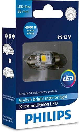 Philips 128584000KX1 X-tremeUltinon LED luz interior para coche C5W 38mm Festoon 4000K 12V, 1 unidad