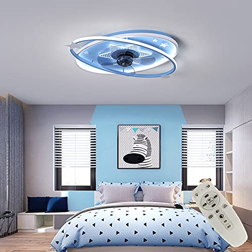 Kind LED Deckenventilator Mit Lampe Moderne Invisible Fan Deckenleuchte Ultra-Leise Licht Mit Beleuchtung Esszimmer Schlafzimmer Wohnzimmer LED Dimmbar Deckenlampe Mit...