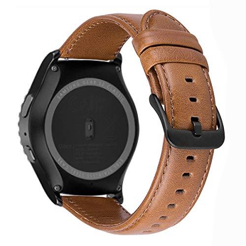 MroTech Cinturino 20 mm Pelle Compatibile per Samsung Galaxy Watch 42mm/ Galaxy Active/Gear S2 Classic, Amazfit bip, Garmin Vivoactive 3 / Vívomove HR, TicWatch E, Huawei 2 20 mm Band Marrone