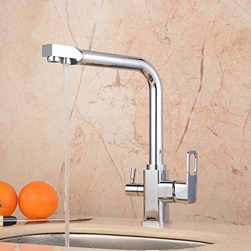 hiendure® gebürstetes Chrom-Finish & Waschen Wasser trinken Auslauf Tri Flow Doppelter Griff Kontrolle Küche Spüle Wasserhahn Drehgelenk Mischarmaturen reinem Wasser Armatur