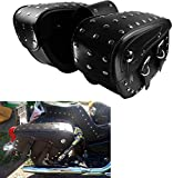 YHMTIVTU Motorcycle Saddlebags Waterproof Side Tool Bags Fit for Harley Sportster 883 Suzuki Yamaha Black with Stainless Steel Studs