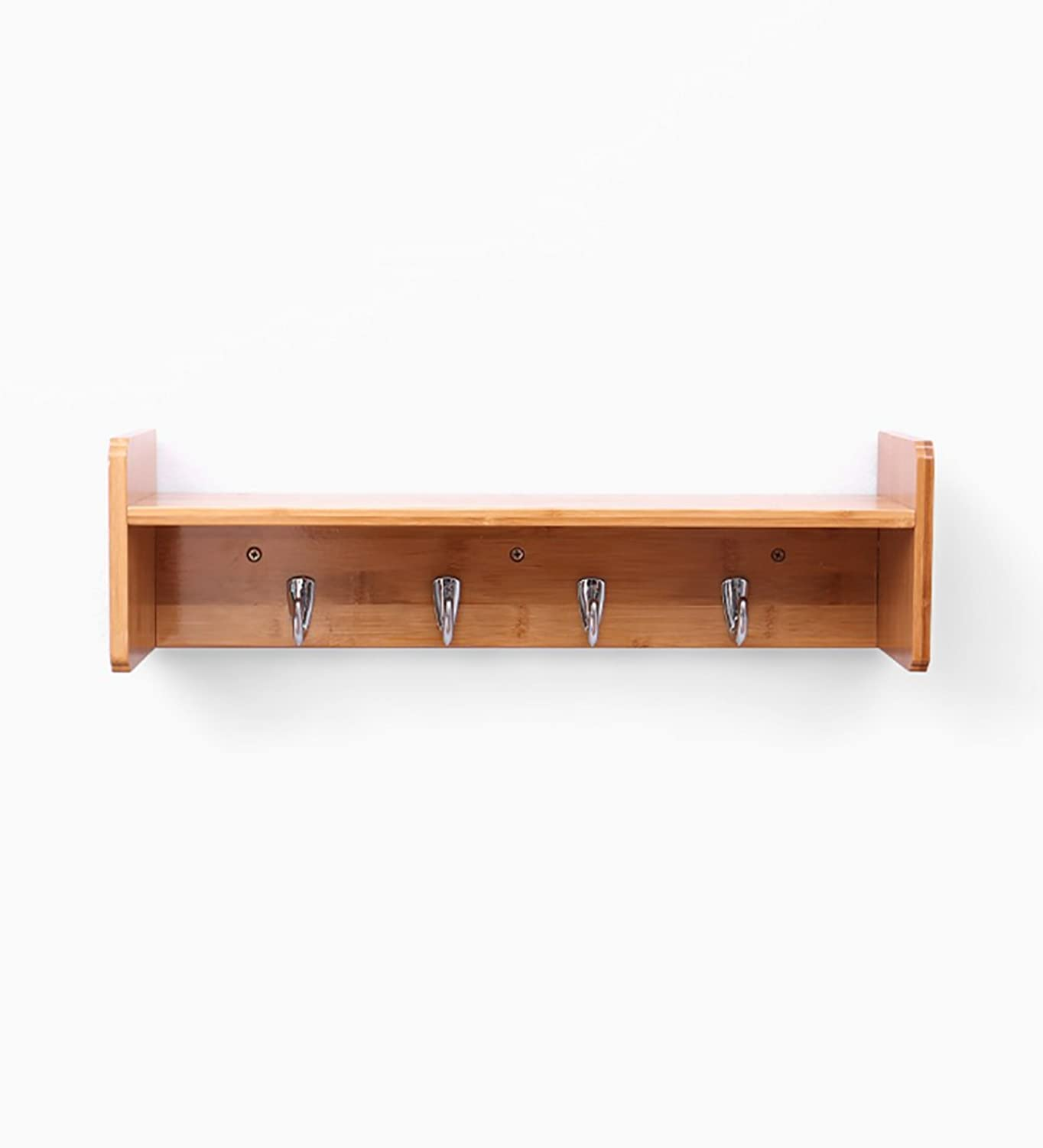 ZEMIN Wall-Mounted Coat Rack Hanger Hat Stand Clothes Holder Decoration Shelf Multi-Hooks Bamboo, log color, 2 Sizes Available ( Size   521514.5CM )