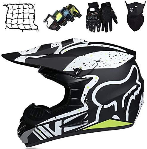 Casco Motocross Bambino Omologato DOT Casco Moto Integrale Unisex per Downhill Enduro MTB Scooter Quad Bike ATV con Design Fox - Opaco Nero,S