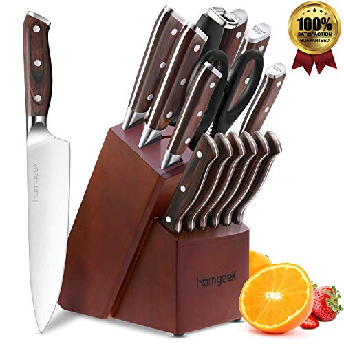 Knife Set, 15-Piece Kitchen Knife Set with Block Wooden, Manual Sharpening for Chef Knife Set, German 1.4116 Stainless Steel, Homgeek (15 Piece Knife Set)