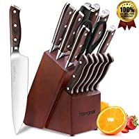 homgeek coltelli da cucina, 15 pezzi set coltelli cucina professionali, realizzato in acciaio inossidabile tedesco 1.4116, compresi coltelli da bistecca, pietre per affilare, forbici e base in legno