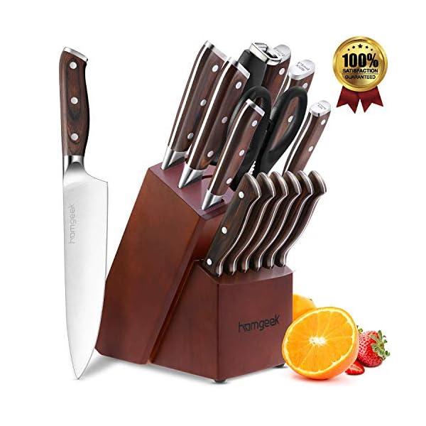 Cuchillos Cocina 15 Piezas, homgeek Juego de Cuchillos con Cuchillos de Carne, Hoja de Acero Inoxidable Pulido de Alta…