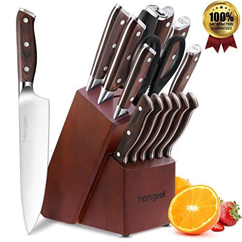 Homgeek Set Coltelli, ceppo coltelli 15 pezzi con blocco di legno e set di coltelli posate in acciaio inox ad alto tenore di carbonio della Germania