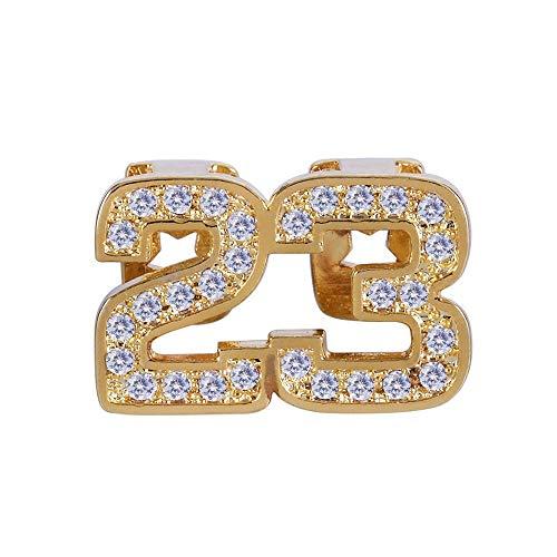 Caishuirong Top und Bottom Grill Set Unisex Digital 23 Micro eingelegten Zirkon Hip Hop Zähne Schmuck dekorative Kupfer zahnärztliche Halterung Für Jede Gelegenheit (Color : Gold)