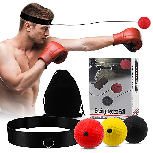 Boxing Reflex Ball,3 Hand-Eye Coordination Training React Reflex Ball Plus 1 Adjustable Headband, Speed Reflex Bag Punching Ball Training Kit Boxing Equipment for Kids and Adults