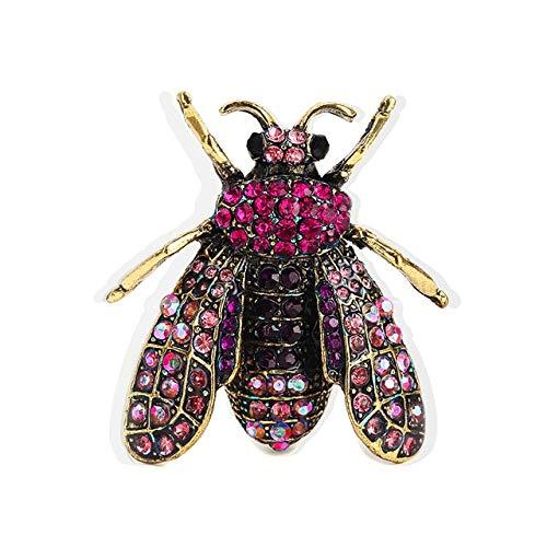 Broche de insectos negro, broches de diamantes de imitación de abeja para mujer, broches para ropa de banquete Vintage, broche para bufanda, broche de joyería