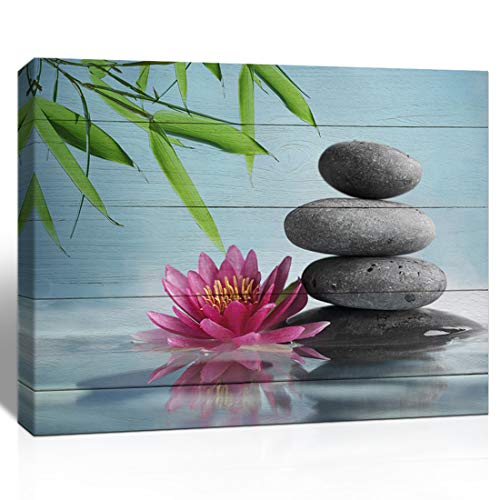 The Melody Art Pink Lotus Flower Bamboo and Stone Wooden Wall Decorations Zen Painting Home Decor Canvas Wall Art 12x16 inch, Framed, 1 Panel