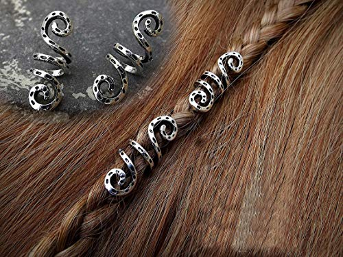 VinBee 10 PCS Viking Spiral Hair Braid Beard Vintage Metal Silver Dreadlock Beads Rings Tube Clips for Hair Accessory