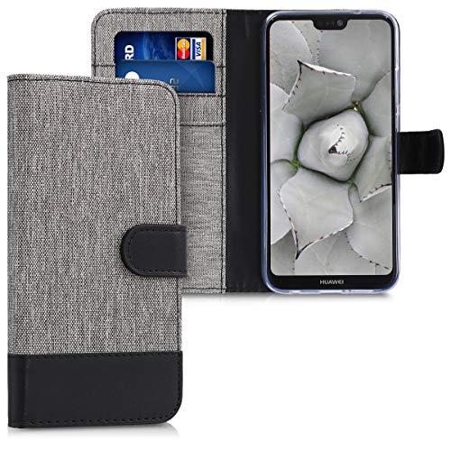 kwmobile Funda Compatible con Huawei P20 Lite - Carcasa de Tela y Cuero sintético Tarjetero Gris/Negro