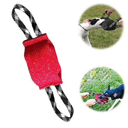 PetGens Beisswurst für Hunde, Hundeseile, Kauspielzeug für Hunde, Sehr Robustes Hundespielzeug, Zwei Handschlaufen, zum K9 Training, Tauziehen und Zerrspiele mit Hund (Rot)
