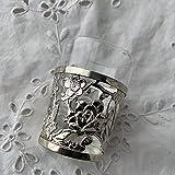銀製 花透かし ショットグラス 酒器ぐい呑み リキュールグラス カップホルダー シルバーアンティーク 銀細工 アンティーク 骨董品