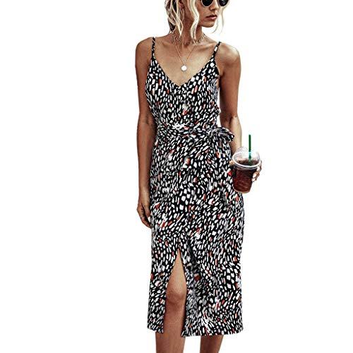 routinfly Damen Kleider, Frauen Camisole BöHmisches Leopard Print Kleid ÄRmelloses Knielanges Kleid Mit V-Ausschnitt Strandkleid UnregelmäßIges TräGerkleid
