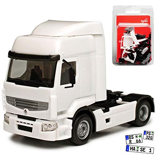 Renault Premium Truck LKW Weiss Zugmaschine Bausatz Kit H0 1/87 Herpa Modell Auto mit individiuellem Wunschkennzeichen