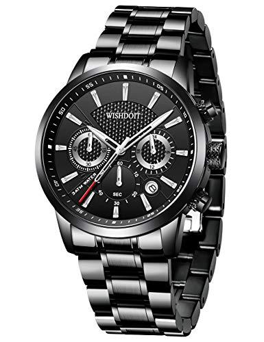 WISHDOIT Herren Uhren Militär Sport Wasserdicht Chronograph Edelstahl Armbanduhr Männer Schwarz Herrenuhr Luxus Markenuhren Analog Quarzuhr