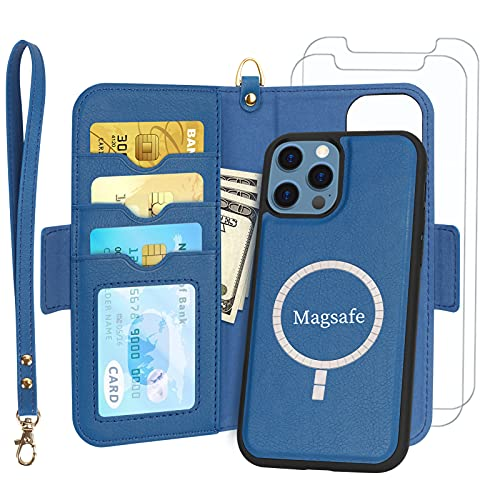 """Skycase Compatible for iPhone 12 Pro Max Case with Screen Protector,[2 in 1] Magnetic Detachable Flip Folio Wallet Case with Card Slots and Detachable Hand Strap for iPhone 12 Pro Max 6.7"""" 2020,Navy"""