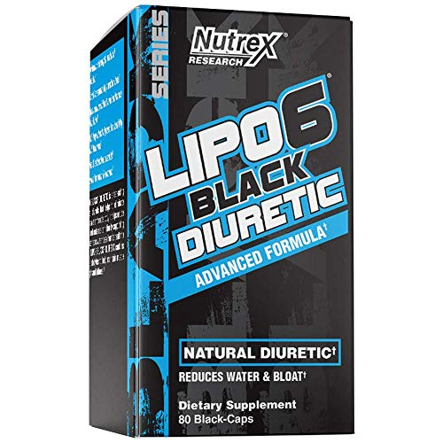Nutrex Research Lipo-6 Diuretic | Advanced Natural Diuretic | Reduce Water Weight and Bloating | Uva-Ursi, Dandelion Root, Oxystelma Ecsculentum, Horsetail Extract | 80 Count