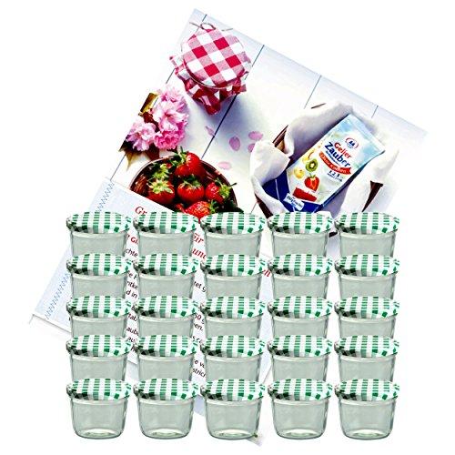 MamboCat 25er Set Sturzglas 230 ml Marmeladenglas Einmachglas Einweckglas to 82 grün Karierter Deckel incl. Diamant-Zucker Gelierzauber Rezeptheft