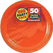 Amscan 100 Count Paper Dessert Plates, 7-Inch, Orange Peel