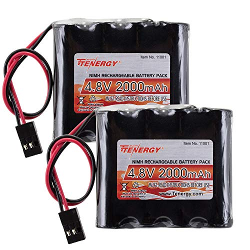 Tenergy 2 Pack NiMH Receiver RX Battery with Hitec Connectors 4.8V 2000mAh High Capacity Rechargeable Battery Pack for RC Receivers, RC Aircrafts and More