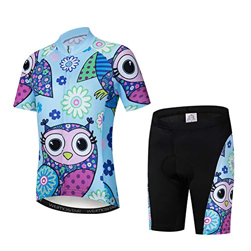 Kids Cycling Jersey Set Cartoon Short Sleeve Bike Shirt Top for Boy Girl Padded Shorts Owl Blue Size M