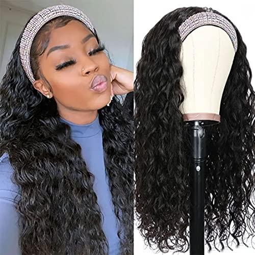 Nadula Hair 10A Water Wave Headbands Wig Human Hair for Women Brazilian Remy Human Hair Gluess Full Head Extension Wig Headband Scarf Wig 150% Density Natural Color (18inch)