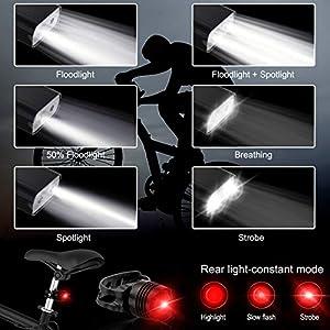 Atmonas Luz Bicicleta, 5200mAh Luces Bicicleta USB Recargable con Floodlight y Spotlight, 6 Modos Ajustables, IPX5 Impermeable, 800 Lumens Linterna Delantera Bicicleta para Todas Las Bicicletas